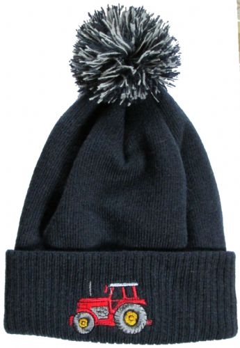 British Country Collection Navy Pompom Hat with Red Tractor